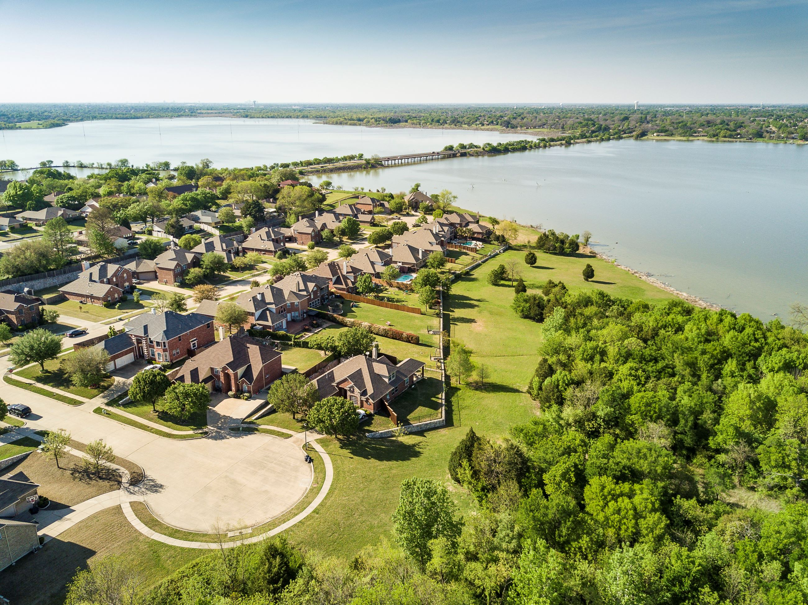 The Shores of Wellington neighborhood along the shoreline of Lake Ray Hubbard in Garland, Texas.