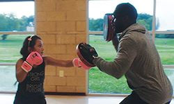 Teacher and student boxing