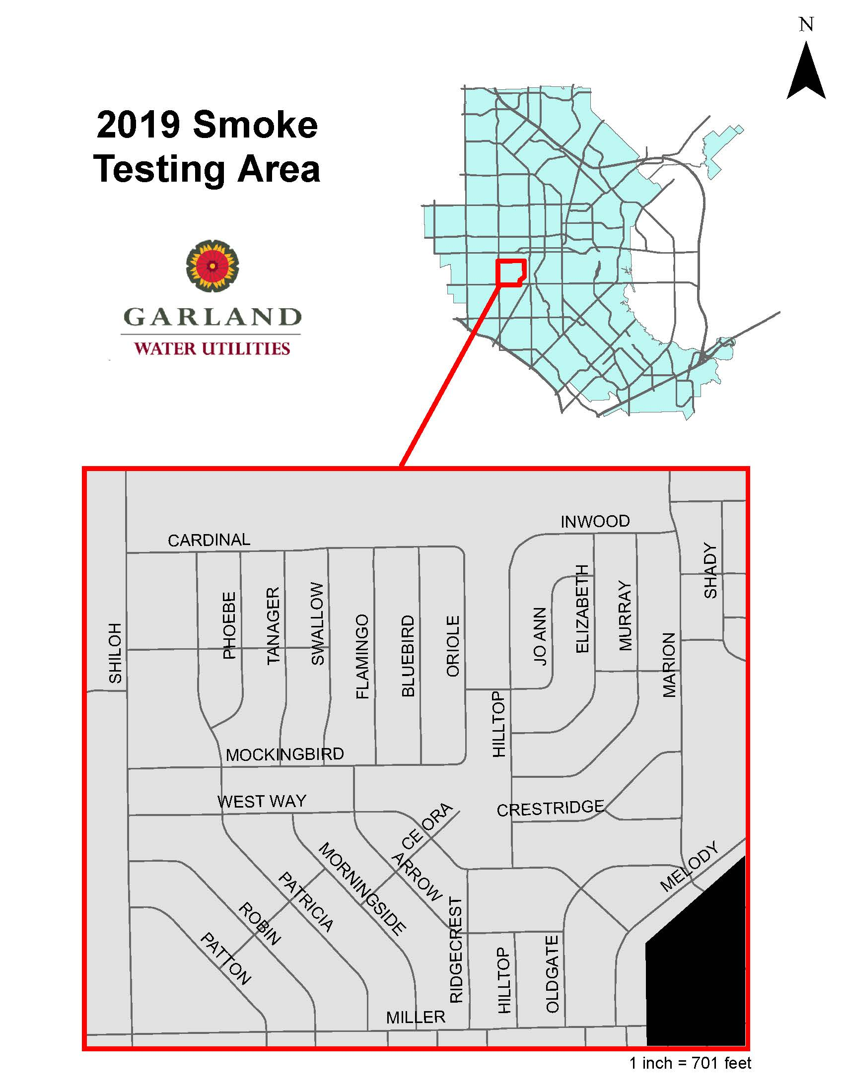 City areas for wastewater pipe smoke testing