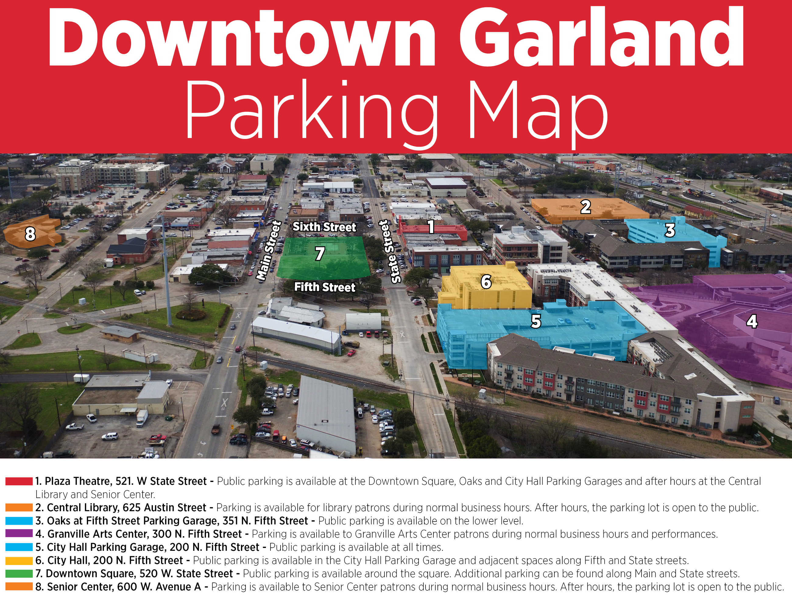 A map of downtown Garland parking